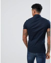ASOS - Blue Design Skinny Shirt In Navy for Men - Lyst