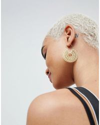 ASOS - Metallic Design Cut Out Disc Hoop Earrings - Lyst