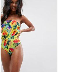 ASOS - Multicolor Sunshine Floral Print Bandeau Tie Swimsuit - Lyst