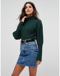 ASOS - Green Jumper With Roll Neck And Puff Shoulders - Lyst