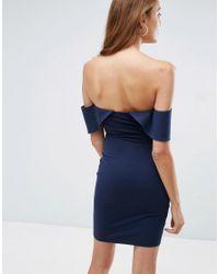ASOS - Blue Bandeau Fold Bardot Mini Dress With Cut Out Waist - Lyst