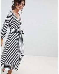 Gestuz - Multicolor Stripe Wrap Dress With Frill Detail - Lyst