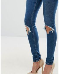 ASOS - Blue Asos Design Tall Ridley Skinny Jeans In Roy Dark Stonewash With Busted Knees - Lyst