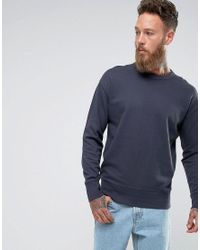 SELECTED - Blue Sweatshirt With Drop Shoulder Detail for Men - Lyst