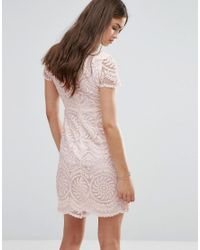Darling - Natural Short Sleeve Lace Shift Dress - Lyst