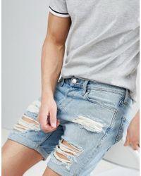 Jack & Jones - Blue Denim Shorts With Heavy Distressing for Men - Lyst