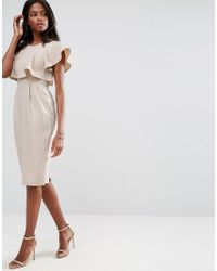 ASOS - Brown Double Layer Wiggle Dress With Cut Outs And Angel Sleeve - Lyst