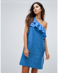 dc68eda7e3f Lyst - Warehouse Ruffle One Shoulder Dress in Blue