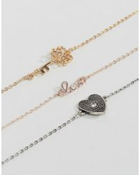 New Look - Multicolor Heart And Key Charm Bracelet - Lyst