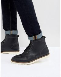 ASOS - Asos Lace Up Boots In Black Leather With White Sole for Men - Lyst