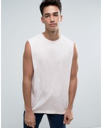 D-Struct - Pink Acid Wash Raw Arm Tank for Men - Lyst