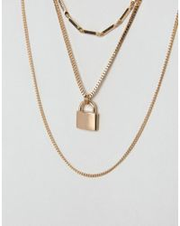 ASOS - Metallic Vintage Style Padlock Multirow Necklace - Lyst