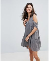 Free People | Gray Gauze Indus Cold Shoulder Dress | Lyst