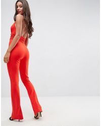 ASOS - Red Jersey Jumpsuit With Halter Neck And Plunge Detail - Lyst