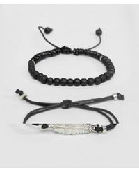 ASOS - Design Bracelet Pack With Beads And Feather In Black - Lyst