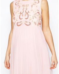 ASOS - Pink Embellished Maxi Dress With Chiffon Skirt - Lyst