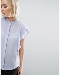 ASOS - Blue Blouse With Frill Shoulder - Lyst