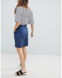 Soaked In Luxury - Blue Paperbag Waist Wrap Skirt - Lyst
