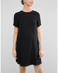ASOS | Black Shift Dress With Chiffon Overlay | Lyst