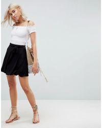 22187ab4dc81b8 Asos Mini Skater Skirt With Self Belt in Black - Lyst