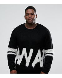 ASOS - Black Asos Plus Fluffy Jumper With Monochrome Graphic for Men - Lyst