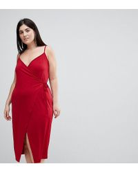 ASOS - Red Sexy Wrap Midi Bodycon Dress - Lyst