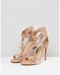 Forever Unique - Multicolor Metallic Cross Strap Heeled Sandal - Lyst