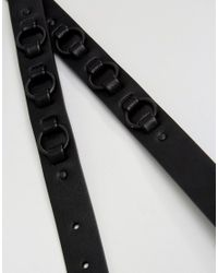 ASOS - Slim Belt In Faux Leather With Black Coated Trims for Men - Lyst