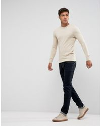 ASOS - Natural Muscle Fit Cotton Jumper In Oatmeal for Men - Lyst
