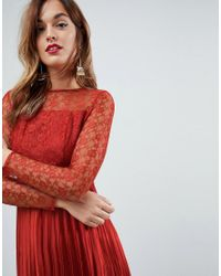 ASOS - Red Satin Paneled Lace Pleated Maxi Dress - Lyst