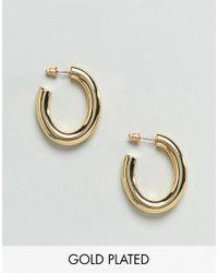 ASOS - Metallic Gold Plated Oval Hoop Earrings - Lyst