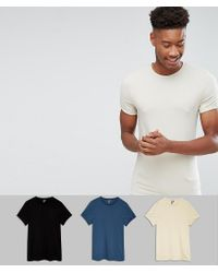 ASOS - White Tall Muscle Fit T-shirt With Roll Sleeve 3 Pack Save for Men - Lyst