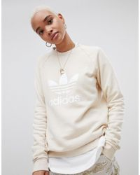 440a27567f8c adidas Originals Trefoil Oversized Sweatshirt In Cream in Pink - Lyst