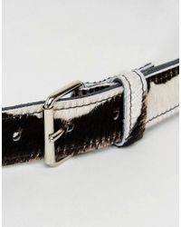 Retro Luxe London | Black Retro Luxe Cow Print Hip And Waist Leather Belt | Lyst
