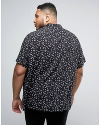ASOS | Black Plus Regular Fit Viscose Shirt With Fan Print for Men | Lyst