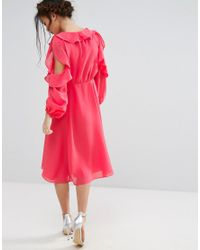 True Decadence - Pink Cold Shoulder Wrap Front Ruffle Detail Skater Dress - Lyst