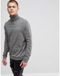 0cb8ef8e3 ASOS Tall Cotton Roll Neck Jumper In Black And White Twist in Gray ...