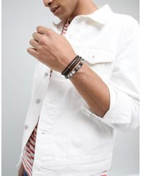 Seven London - Black Beaded & Wrap Bracelets In 2 Pack Exclusive To Asos for Men - Lyst