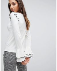 Mango | White Frill Shoulder Top | Lyst