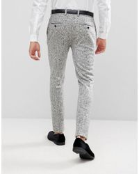 ASOS - Multicolor Super Skinny Suit Pants In Black And White Printed Crosshatch for Men - Lyst