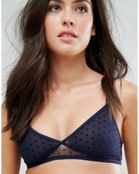 Monki | Blue Polka Dot Mesh Triangle Bra | Lyst