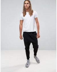 ASOS - Drop Crotch Cropped Joggers With Pleats In Black for Men - Lyst