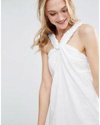 ASOS - White Halterneck Mini Sundress In Seersucker Stripe - Lyst