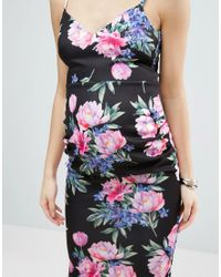 ASOS | Multicolor Deep Plunge Dark Floral Strappy Midi Dress | Lyst