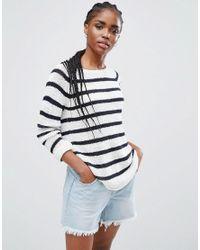 ONLY | Blue Stripe Knit Boat Neck Jumper | Lyst