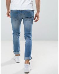 Loyalty & Faith Blue Loyalty And Faith Slim Fit Jeans With Abbriasions In Light Wash for men