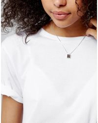 Pilgrim - Metallic Silver Plated Necklace With Brown Gem Stone - Lyst