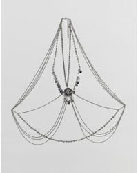 ASOS - Metallic Design Statement Disc And Burnished Pendant Body Chain - Lyst