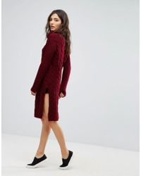 Oeuvre - Red Cable Knit Roll Neck Jumper Dress - Lyst