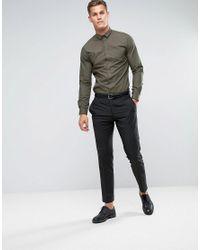 Noak - Green Skinny Shirt With Bluff Collar for Men - Lyst